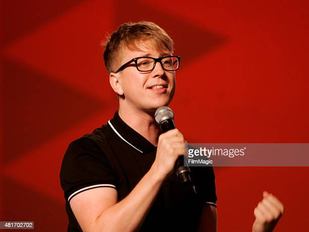YouTuber Tyler Oakley speaks at #VidCon at Anaheim Convention Center on July 23 2015 in Anaheim California