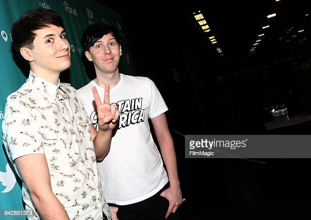 Youtubers Dan and Phil attend VidCon at the Anaheim Convention Center on June 24 2016 in Anaheim California