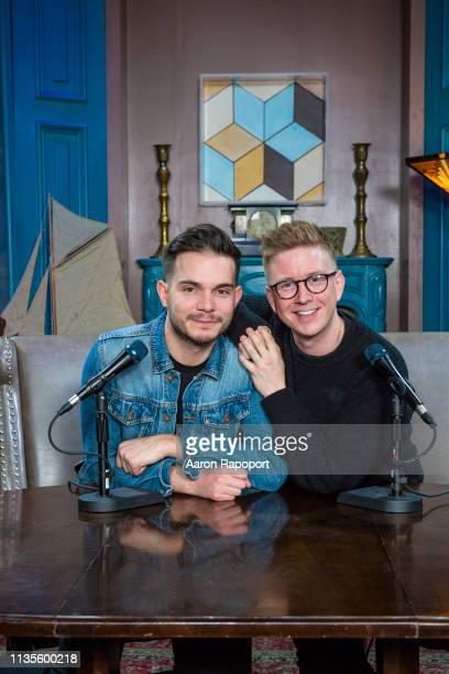 YouTubers Korey Kuhl and Tyler Oakley.pose for a portrait in October 2018 in Los Angeles, California.