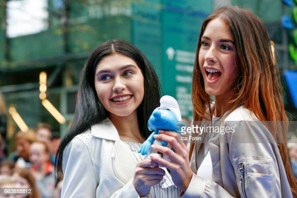 Youtubestar and influencer Ana Lisa Kohler and model and influencer Brenda Huebscher during the 'Die Schluempfe Das verlorene Dorf' premiere at Sony...