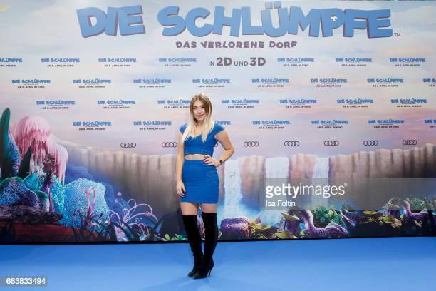 Youtubestar Bianca Heinicke alias Bibi during the 'Die Schluempfe Das verlorene Dorf' premiere at Sony Centre on April 2 2017 in Berlin Germany