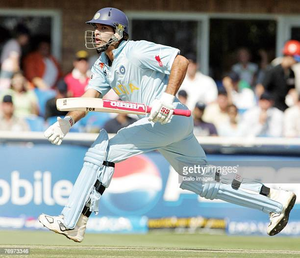 Youvraj Singh in action during to the final match of the ICC Twenty20 World Cup between Pakistan and India held at the Wanderers Cricket Stadium on...
