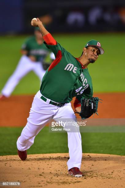 Yovani Gallardo of Team Mexico pitches during Game 1 of Pool D of the 2017 World Baseball Classic against Team Italy on Thursday March 9 2017 at...