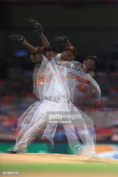 Yovani Gallardo of the Baltimore Orioles throws against the Texas Rangers in the first inning at Globe Life Park in Arlington on April 16 2016 in...