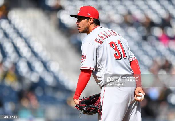 Yovani Gallardo of the Cincinnati Reds pitches during the game against the Pittsburgh Pirates at PNC Park on April 8 2018 in Pittsburgh Pennsylvania
