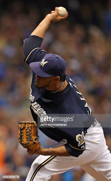 Yovani Gallardo of the Milwaukee Brewers delivers a pitch during the second inning of their game against the Cincinnati Reds on September 13 2014 at...