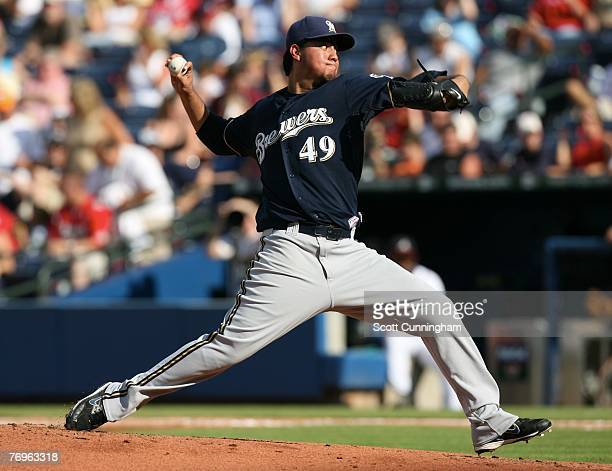 Yovani Gallardo of the Milwaukee Brewers pitches against the Atlanta Braves at Turner Field on September 22 2007 in Atlanta Georgia The Braves...