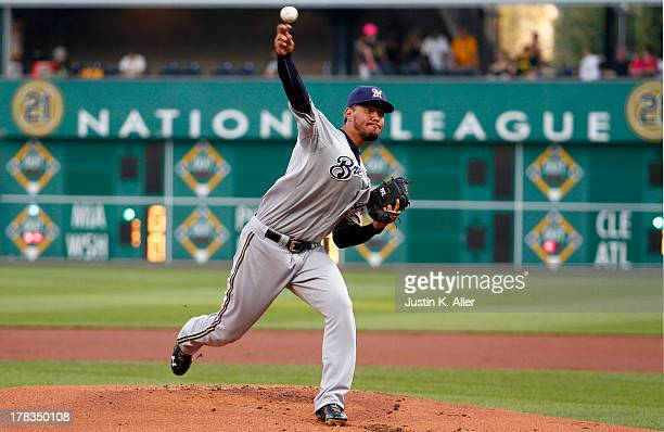 Yovani Gallardo of the Milwaukee Brewers pitches in the first inning against the Pittsburgh Pirates during the game on August 29 2013 at PNC Park in...