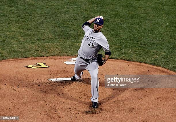 Yovani Gallardo of the Milwaukee Brewers pitches in the first inning against the Pittsburgh Pirates during the game at PNC Park on September 19 2014...