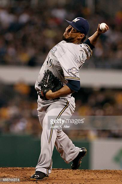 Yovani Gallardo of the Milwaukee Brewers pitches in the second inning against the Pittsburgh Pirates during the game at PNC Park on September 19 2014...
