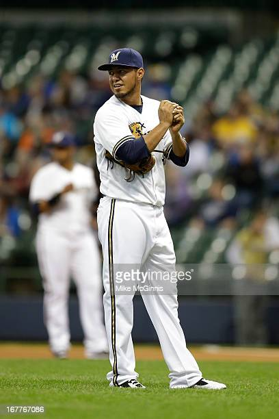 Yovani Gallardo of the Milwaukee Brewers pitches in the top of the first inning against the Pittsburgh Pirates during the game at Miller Park on...