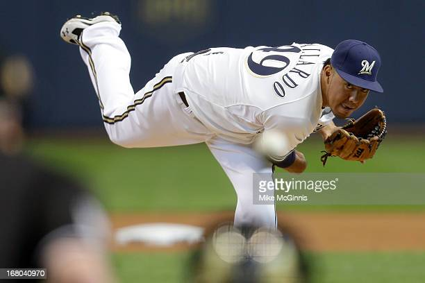 Yovani Gallardo of the Milwaukee Brewers pitches in the top of the first inning against the St Louis Cardinals at Miller Park on May 04 2013 in...