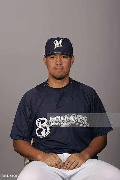 Yovani Gallardo of the Milwaukee Brewers poses during photo day at Maryvale Stadium on February 27 2007 in Phoenix Arizona