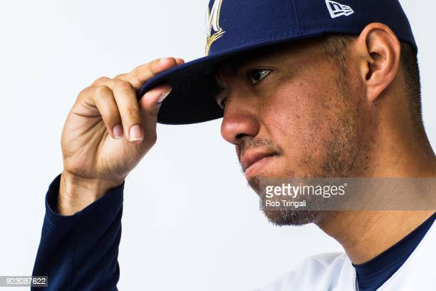 Yovani Gallardo of the Milwaukee Brewers poses for a portrait during Photo Day at the Milwaukee Brewers Spring Training Complex on February 22 2018...