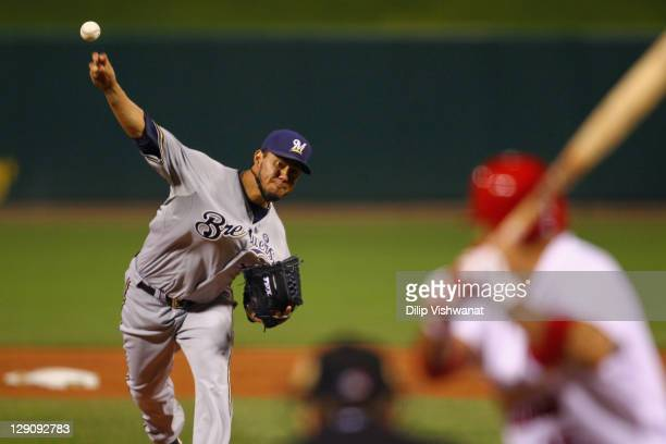Yovani Gallardo of the Milwaukee Brewers throws a pitch against the St Louis Cardinals during Game Three of the National League Championship Series...