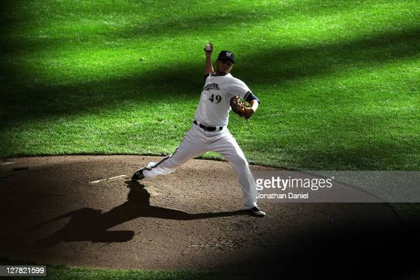 Yovani Gallardo of the Milwaukee Brewers throws a pitch during Game One of the National League Division Series against the Arizona Diamondbacks at...