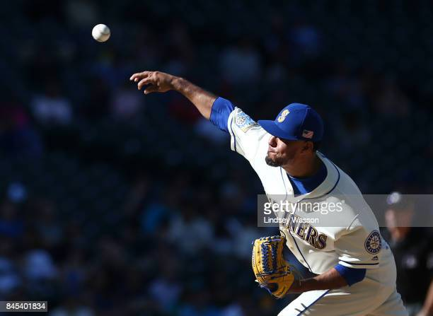 Yovani Gallardo of the Seattle Mariners pitches against the Los Angeles Angels of Anaheim in the ninth inning at Safeco Field on September 10 2017 in...