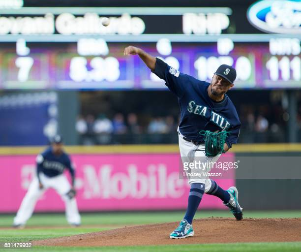 Yovani Gallardo of the Seattle Mariners throws the first pitch of the game to Tim Beckham of the Baltimore Orioles and gives up a solo home run in...