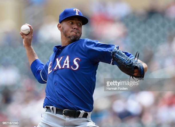 Yovani Gallardo of the Texas Rangers delivers a pitch against the Minnesota Twins during the first inning of the game on June 23 2018 at Target Field...