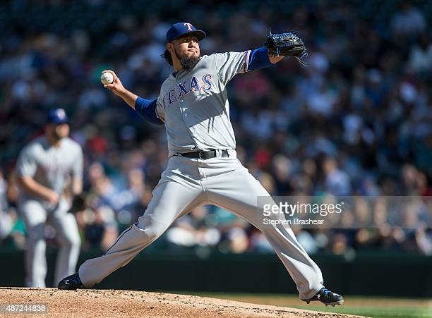 Yovani Gallardo of the Texas Rangers delivers a pitch during the first inning of a game against the Seattle Mariners at Safeco Field on September 7...