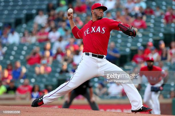 Yovani Gallardo of the Texas Rangers pitches against the Baltimore Orioles in the top of the first inning at Globe Life Park in Arlington on August 2...