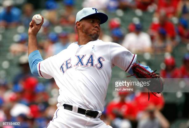 Yovani Gallardo of the Texas Rangers pitches against the Colorado Rockies during the first inning at Globe Life Park in Arlington on June 17 2018 in...