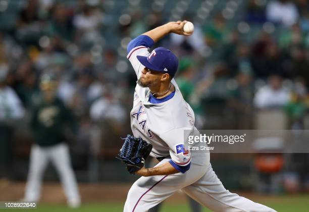 Yovani Gallardo of the Texas Rangers pitches against the Oakland Athletics in the first inning at Oakland Alameda Coliseum on September 7 2018 in...