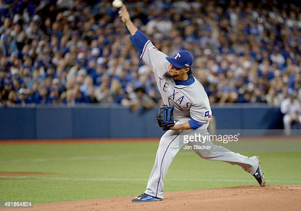 Yovani Gallardo of the Texas Rangers pitches during Game 1 of the ALDS against the Toronto Blue Jays at the Rogers Centre on Thursday October 8 2015...