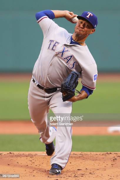 Yovani Gallardo of the Texas Rangers pitches in the first inning of a game against the Boston Red Sox at Fenway Park on July 10 2018 in Boston...