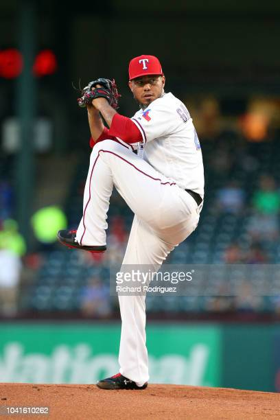 Yovani Gallardo of the Texas Rangers pitches in the first inning against the Tampa Bay Rays at Globe Life Park in Arlington on September 18 2018 in...