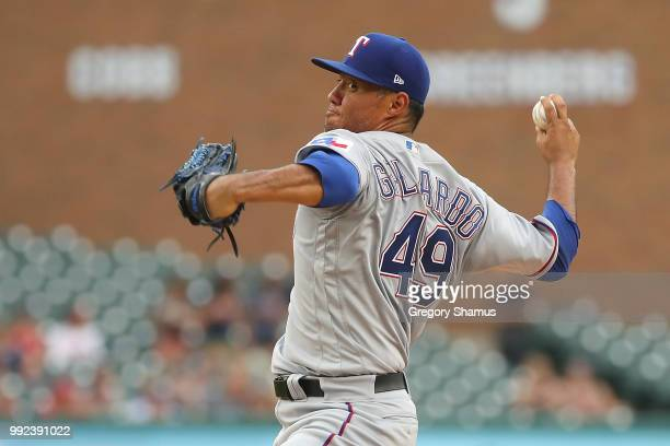 Yovani Gallardo of the Texas Rangers throws a first inning pitch while playing the Detroit Tigers at Comerica Park on July 5 2018 in Detroit Michigan