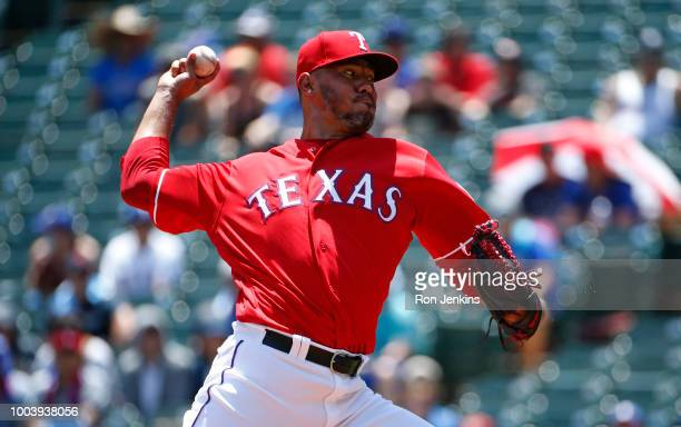 Yovani Gallardo of the Texas Rangers throws against the Cleveland Indians during the first inning at Globe Life Park in Arlington on July 22 2018 in...