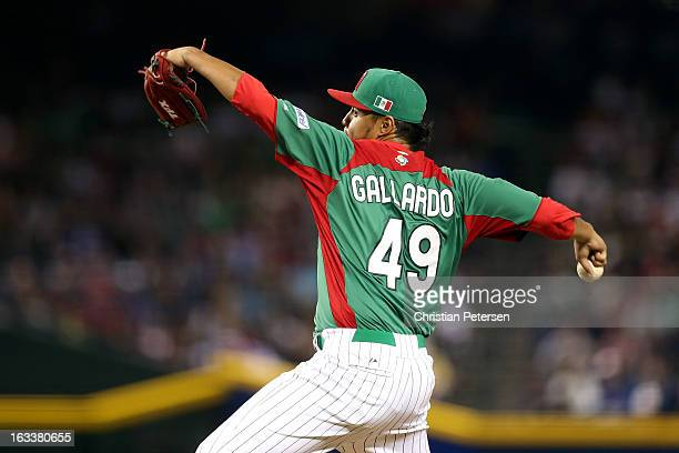 Yovani Gallardo#49 of Mexico throws a pitch against the United States during the World Baseball Classic First Round Group D game at Chase Field on...