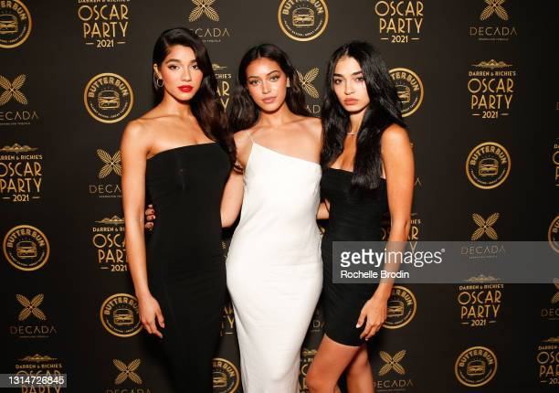 Yovanna Ventura, Cindy Kimberly, and Raven Lyn attend Darren Dzienciol & Richie Akiva's Oscar Party 2021 on April 25, 2021 in Bel Air, California.