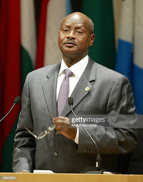 Yoweri Kaguta Museveni President of Uganda delivers a speech during an afternoon session of the third Tokyo International Conference on African...