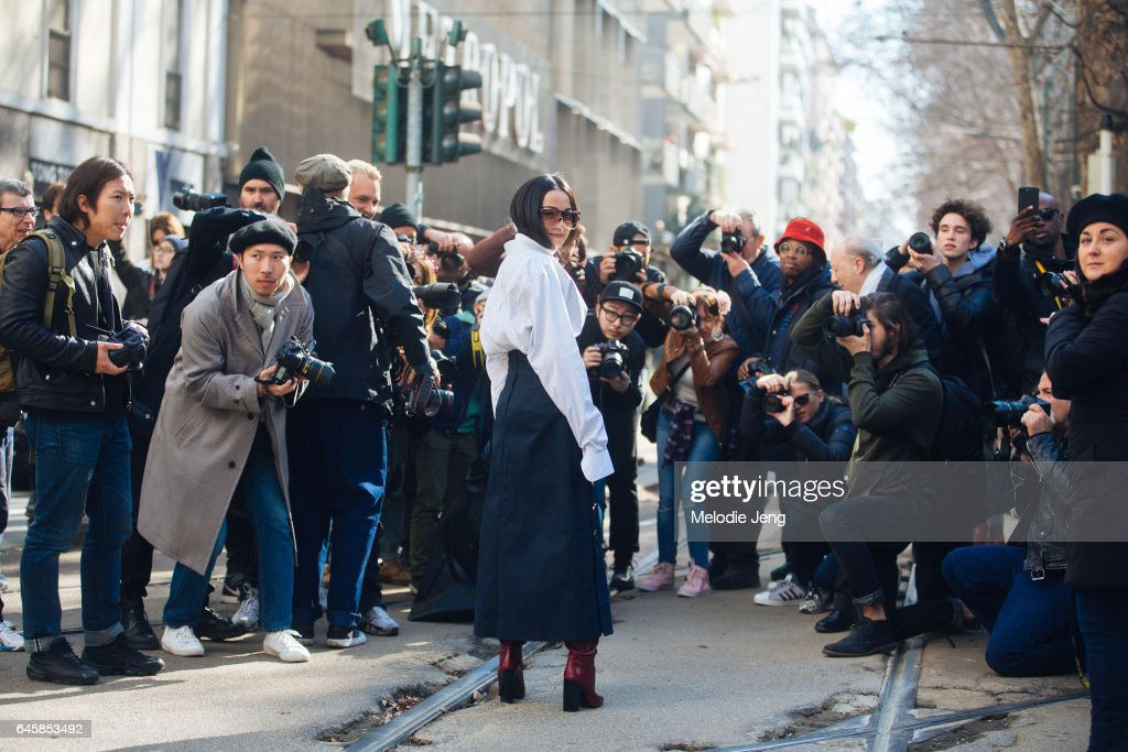 Yoyo Cao is photographed during Milan Fashion Week Fall/Winter 2017/18 on February 26, 2017 in Milan, Italy.