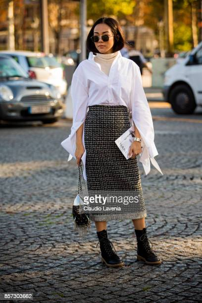 Yoyo Cao is seen before the Chanel show during Paris Fashion Week Womenswear SS18 on October 3 2017 in Paris France