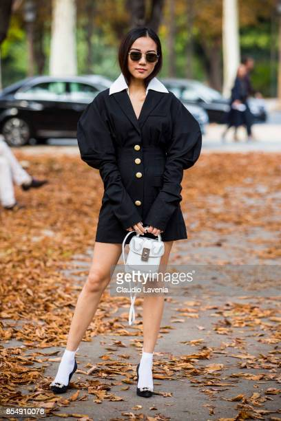 Yoyo Cao is seen before the Rochas show at the Pavillion Ledoyen during Paris Fashion week Womenswear SS18 on September 27 2017 in Paris France