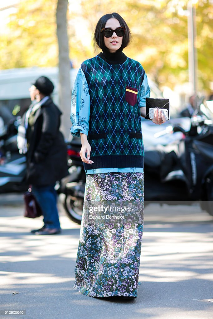 Yoyo Cao is seen, outside the Miu Miu show, during Paris Fashion Week Spring Summer 2017, on October 5, 2016 in Paris, France.