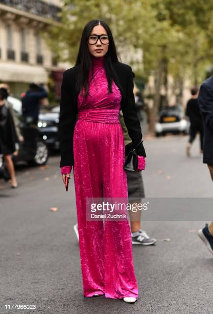Yoyo Cao is seen outside the Valentino dress show during Paris Fashion Week SS20 on September 29, 2019 in Paris, France.