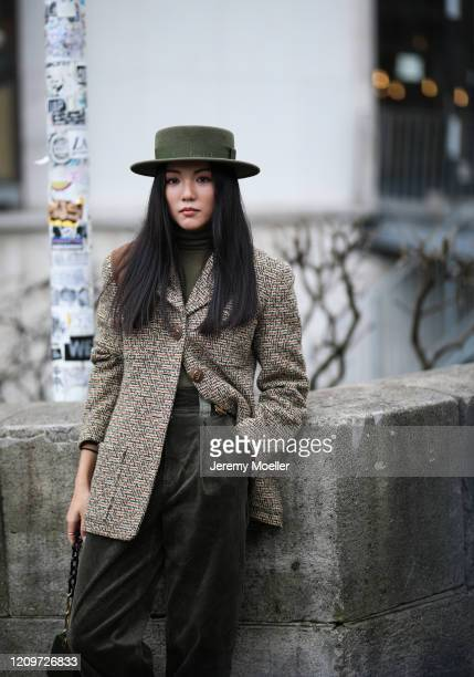 Yoyo Cao is seen wearing a Chanel coat outside the Elie Saab show during Paris Fashion week Womenswear Fall/Winter 2020/2021 Day Six on February 29...