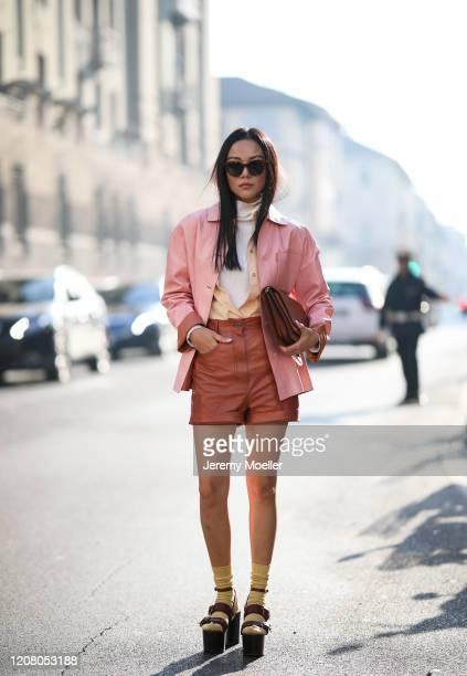 Yoyo Cao is seen wearing a Salvatore Ferragamo look before Salvatore Ferragamo during Milan Fashion Week Fall/Winter 2020-2021 on February 22, 2020...