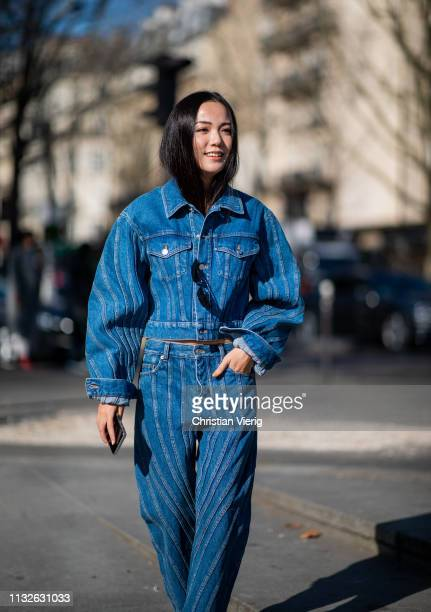 Yoyo Cao is seen wearing denim jacket and jeans outside Mugler during Paris Fashion Week Womenswear Fall/Winter 2019/2020 on February 27 2019 in...