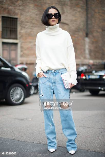 Yoyo Cao poses after the Max Mara show during Milan Fashion Week Fall/Winter 2017/18 on February 23, 2017 in Milan, Italy.