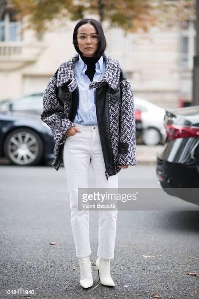 Yoyo Cao poses after the Miu Miu show at the Palais de Iena during Paris Fashion Week SS19 Womenswear on October 2 2018 in Paris France