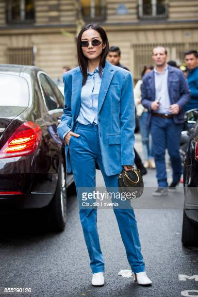 Yoyo Cao wearing blue velvet suit and Chloe bag is seen before the Chloe fashion show during Paris Fashion week Womenswear SS18 on September 28 2017...