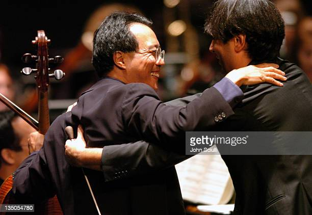 YoYo Ma and Andrea Morricone during YoYo Ma Plays The Music of Ennio Morricone November 5 2004 at University of Southern California in Los Angeles...