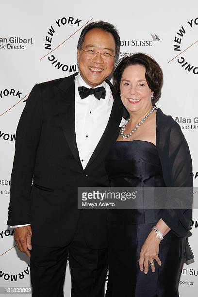 YoYo Ma and Jill Hornor attend the New York Philharmonic 172nd Season Opening Night Gala at Avery Fisher Hall Lincoln Center on September 25 2013 in...