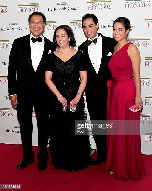 YoYo Ma Jill Hornor Ma son Nicholas and daughter Emily Ma arrive for the formal Artist's Dinner honoring the recipients of the 2011 Kennedy Center...