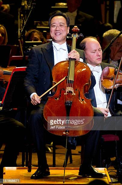YoYo Ma performs at the Academy of Music's 155th Anniversary Concert Ball at the Academy of Music on January 28 2012 in Philadelphia Pennsylvania